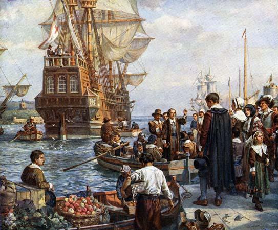 Pilgrim Fathers gaan boord het de Mayflower, schilderij van Bernard Gribble