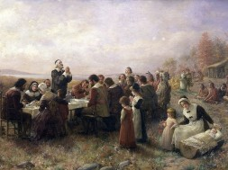 The First Thanksgiving at Plymouth (1914) Schilder van de hand van Jennie A Brownscombe