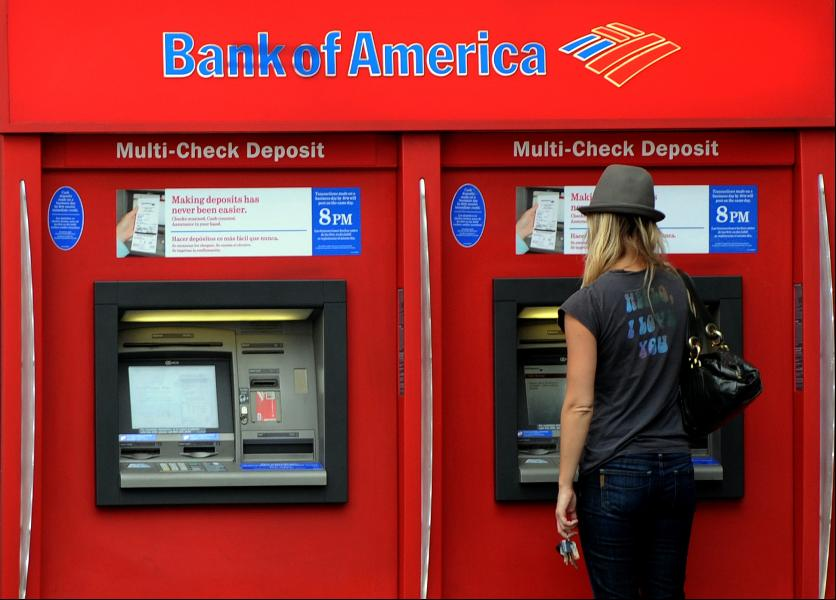 Pinnen in Amerika Bank of America ATM