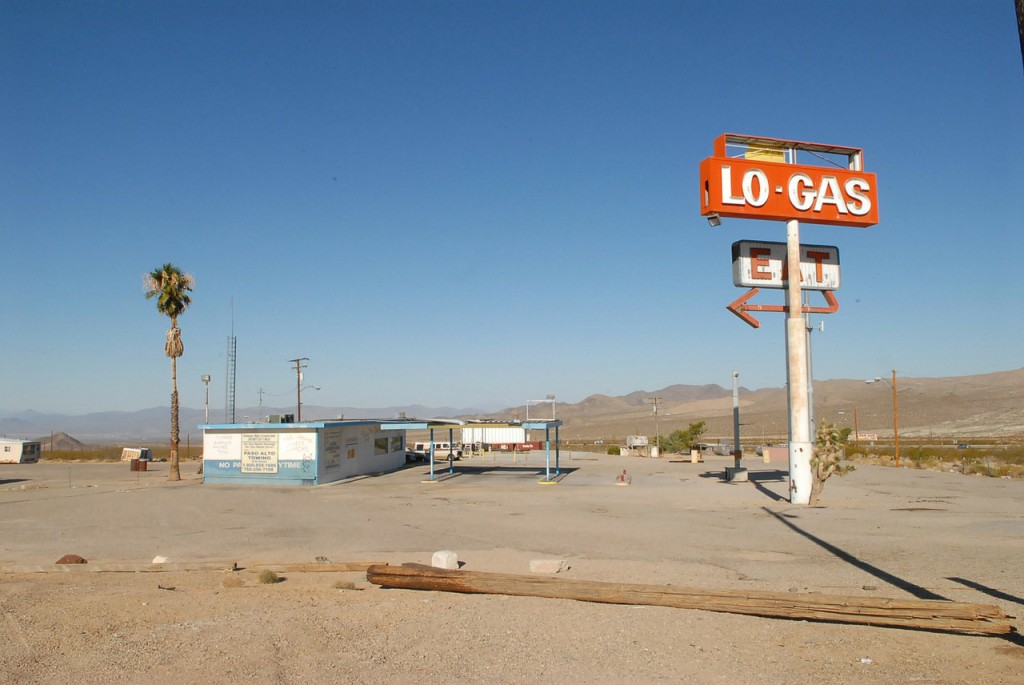 verlaten benzinestation