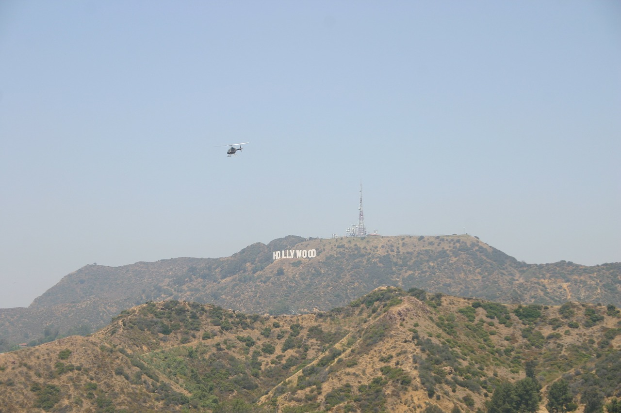 Hollywoodsign en helikopter